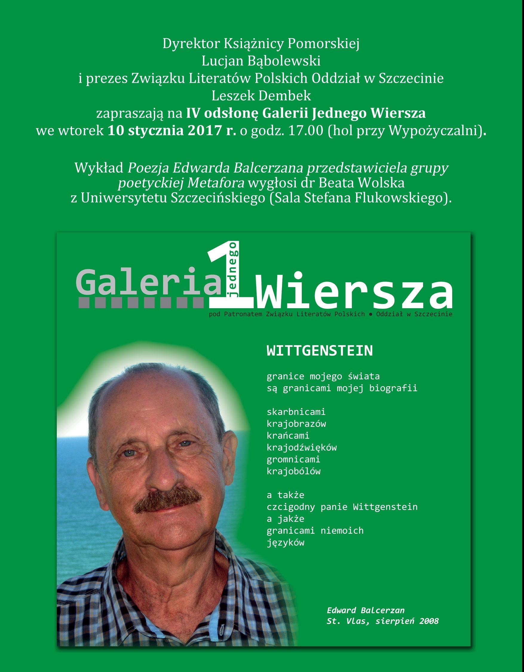Galeria Jednego Wiersza - Wittgenstein Edwarda Balcerzana