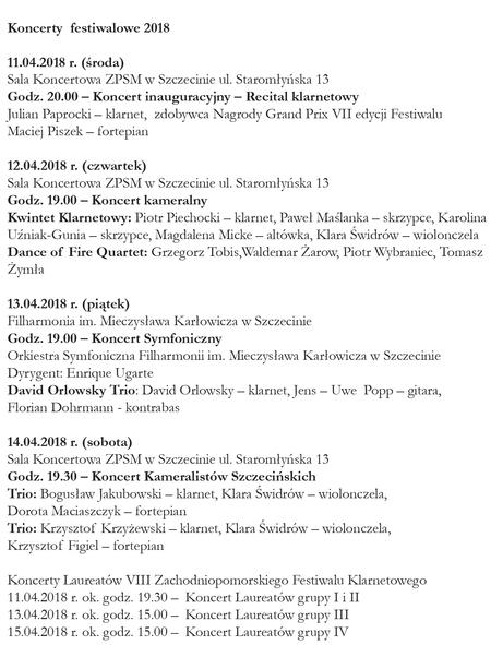 VIII Zachodniopomorski Festiwal Klarnetowy