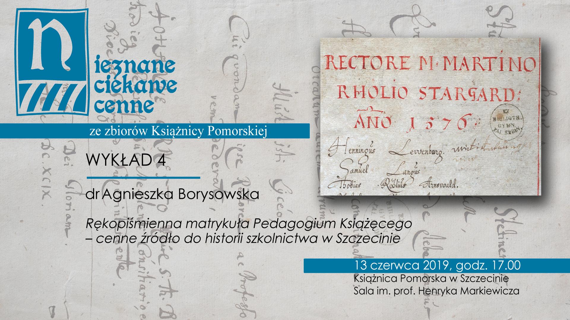 Wykład dr Agnieszki Borysowskiej