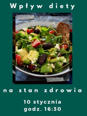 Bezpłatny wykład - Wpływ diety na stan zdrowia.