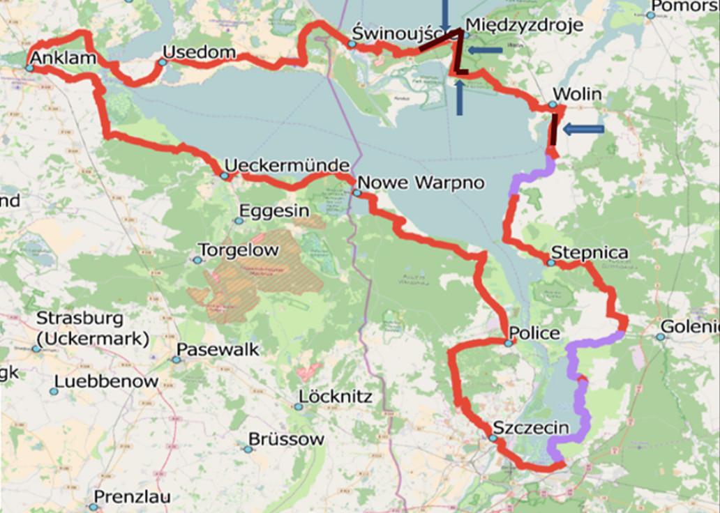 rower pętla Zalew Szczeciński