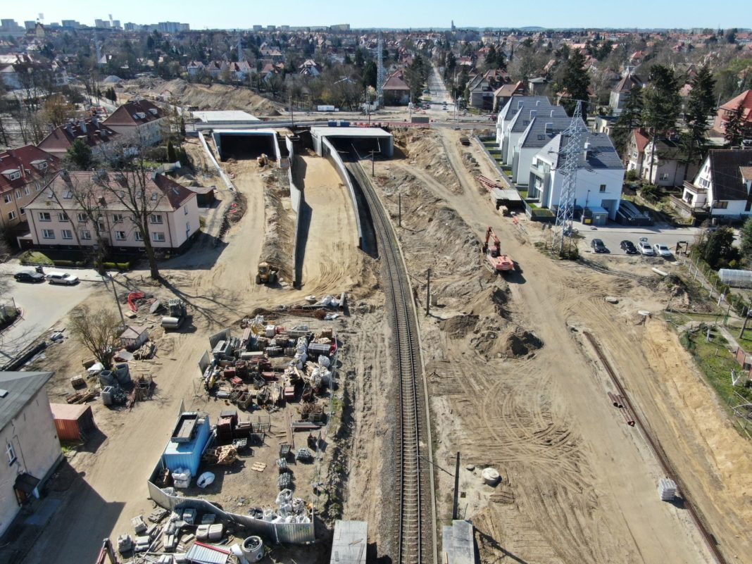 Węzeł Łękno postęp prac kwiecień 2020