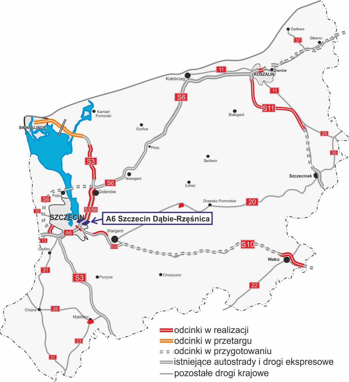 autostrada A6 Szczecin Dąbie – Rzęśnica dokończenie roboty