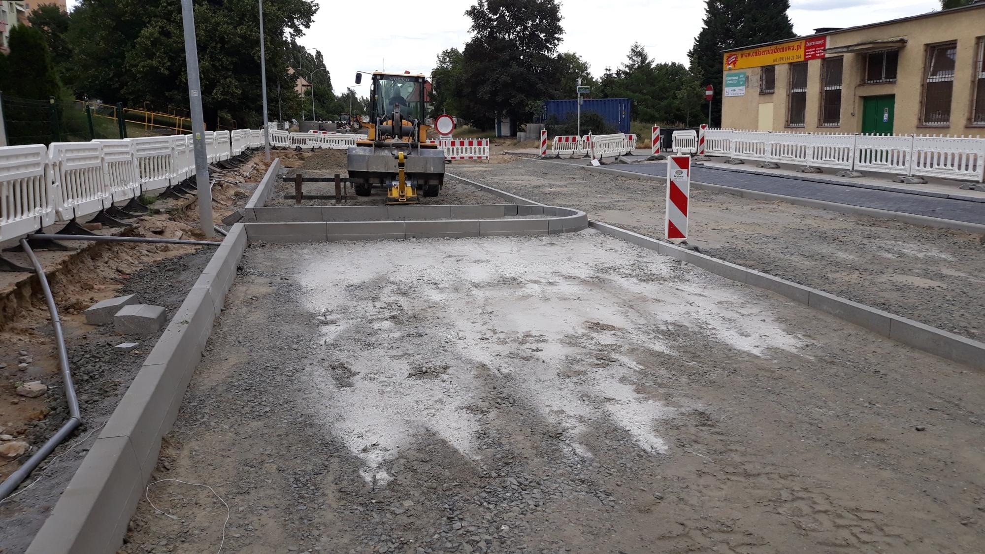 ul. Jarogniewa Szczecin przebudowa postęp prac lipiec 2020