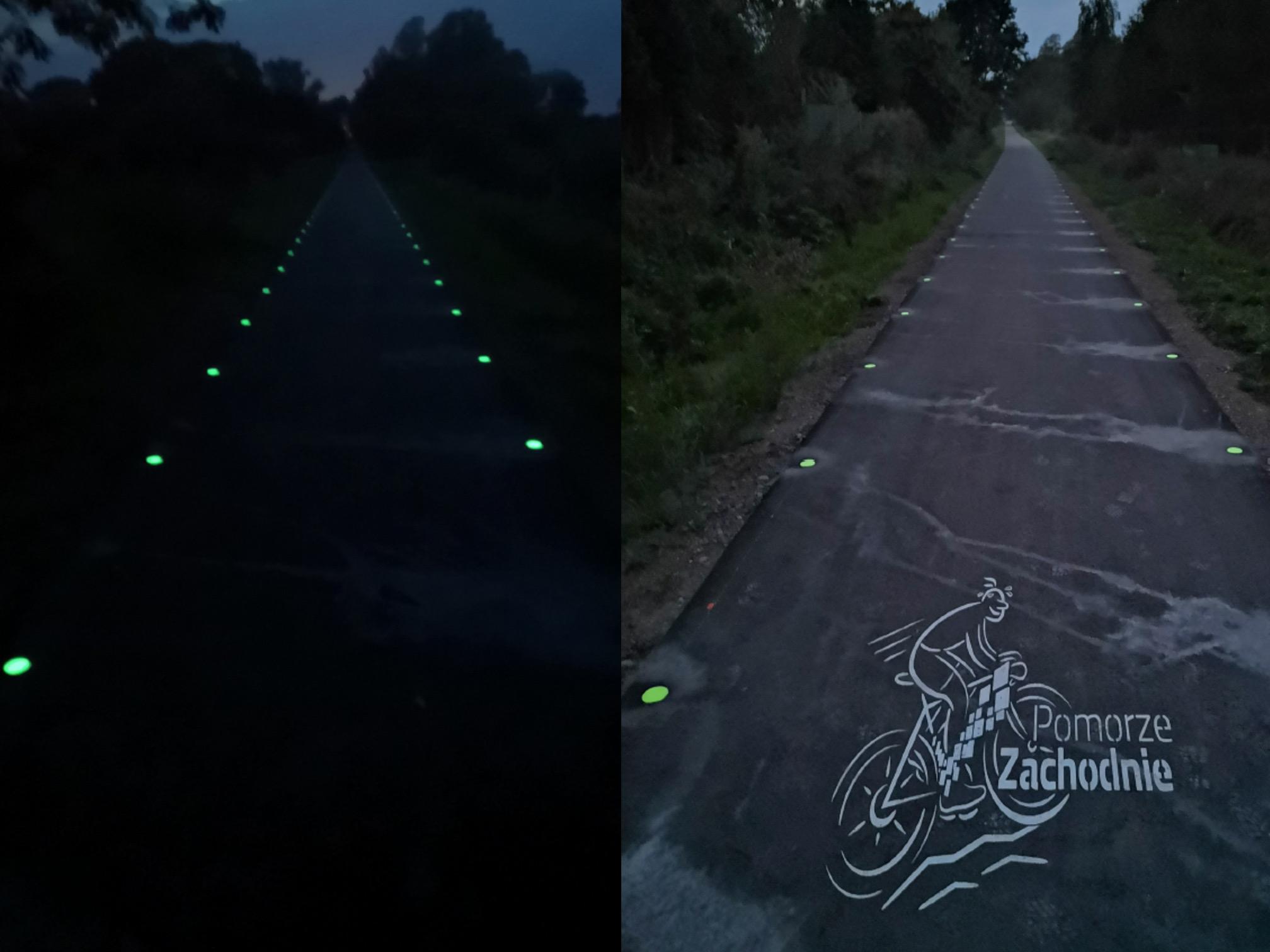 znaczniki fotoluminescencyjne linie krawędziowe trasy rowerowe Pomorze Zachodnie