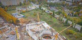 aquapark Fabryka Wody budowa liczby zdjęcia z drona październik 2020