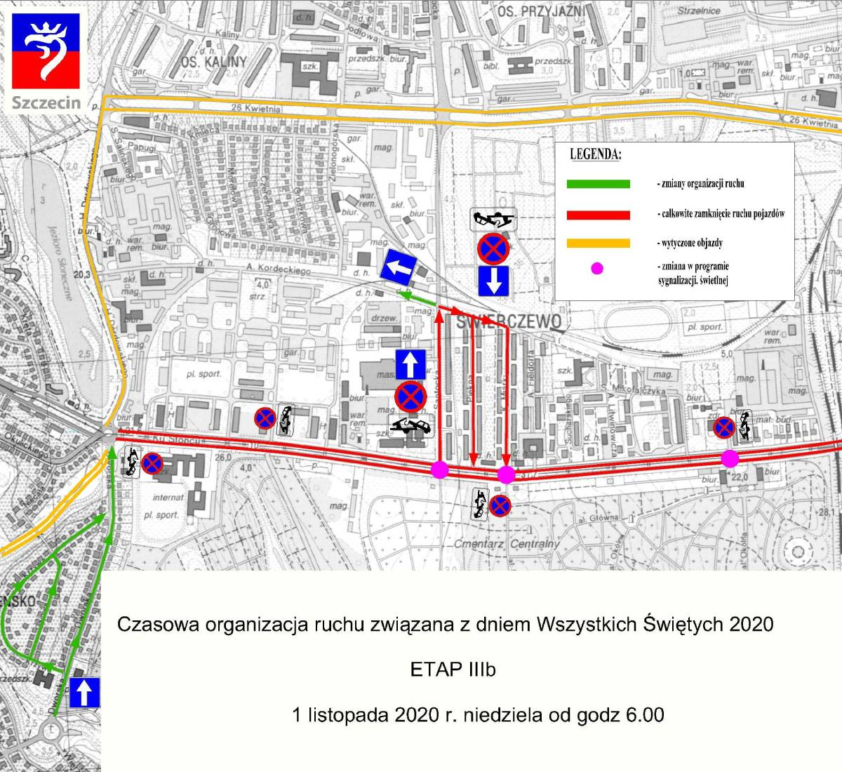TyDZIEŃ Wszystkich Świętych 2020 komunikacja miejska Szczecin