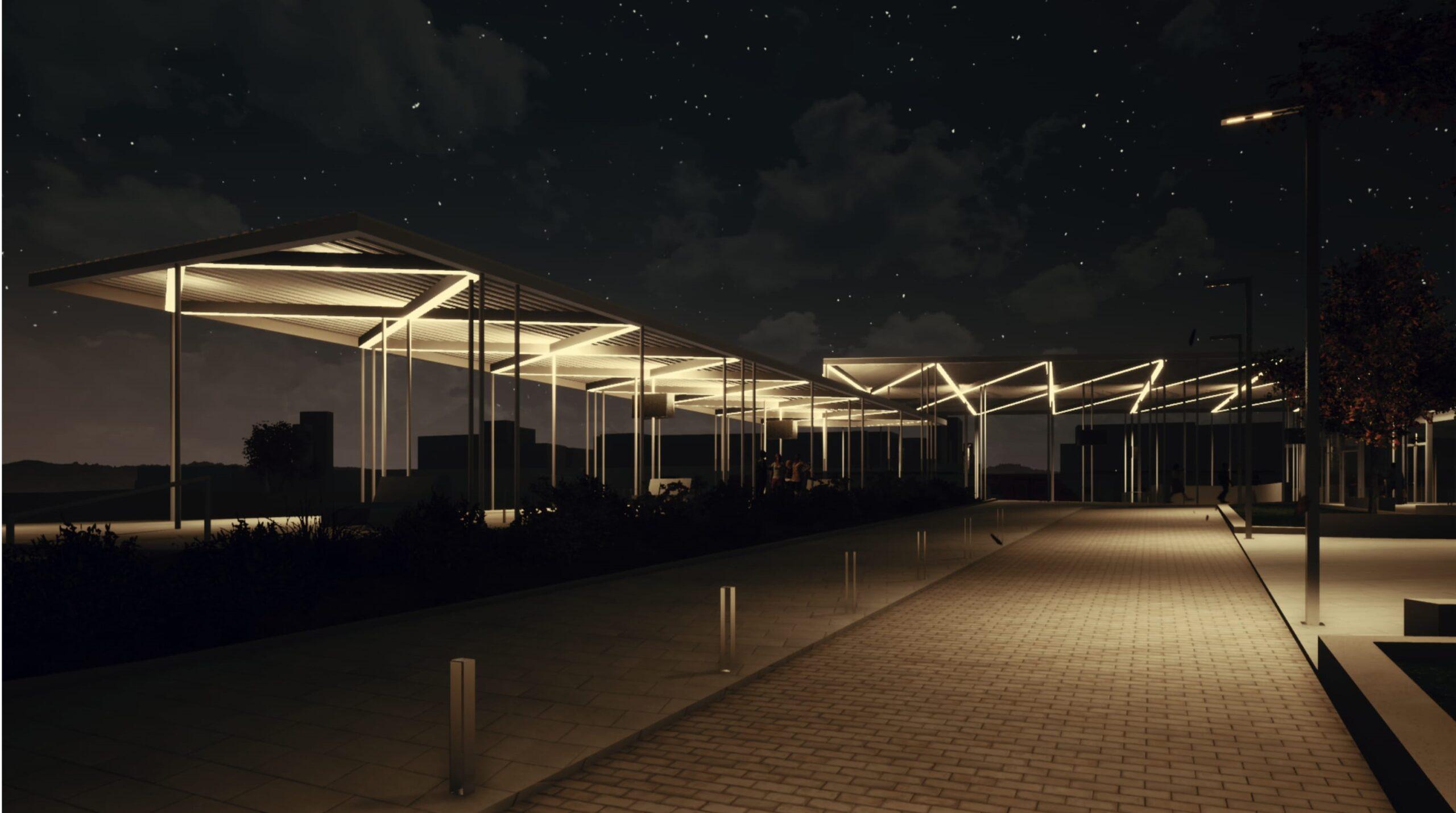 dworzec Goleniów budowa wizualizacje