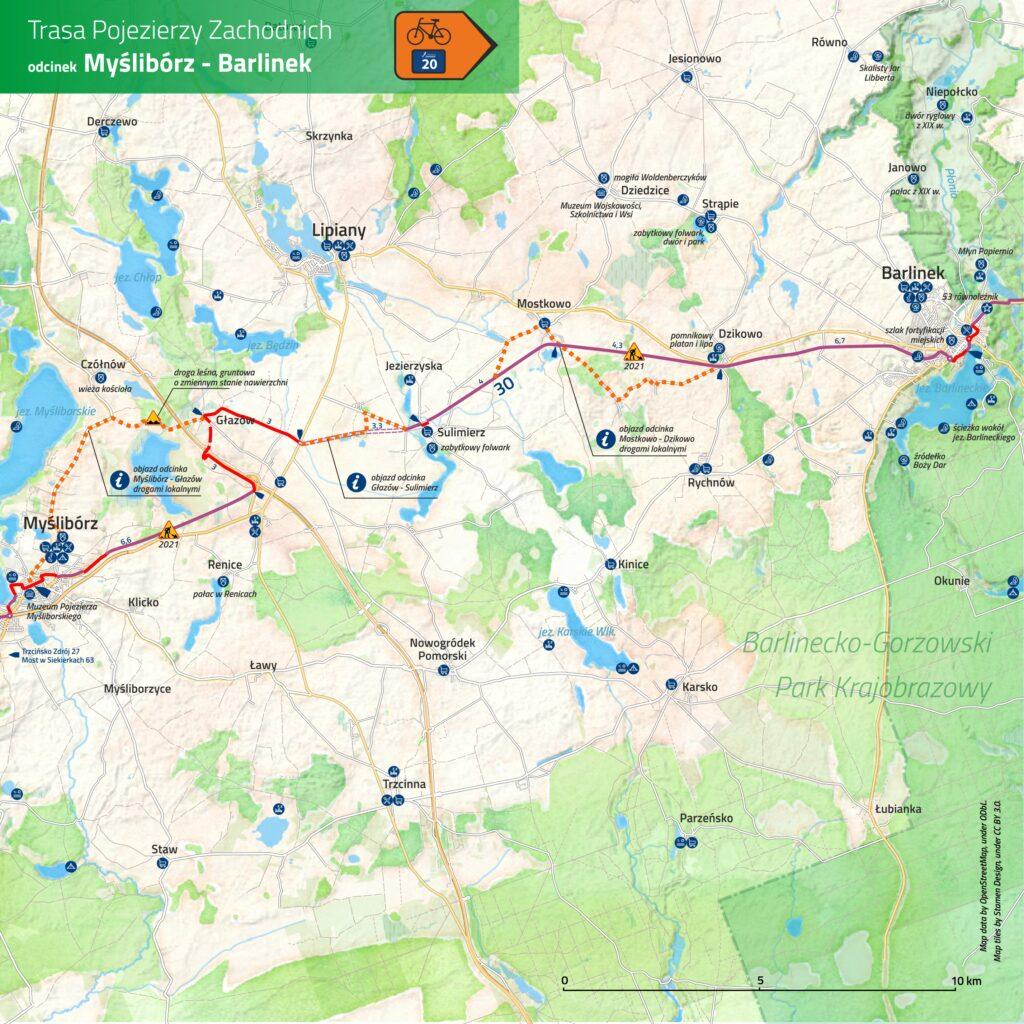 Więcej inwestycji winfrastrukturę rowerową naTrasie Pojezierzy Zachodnich