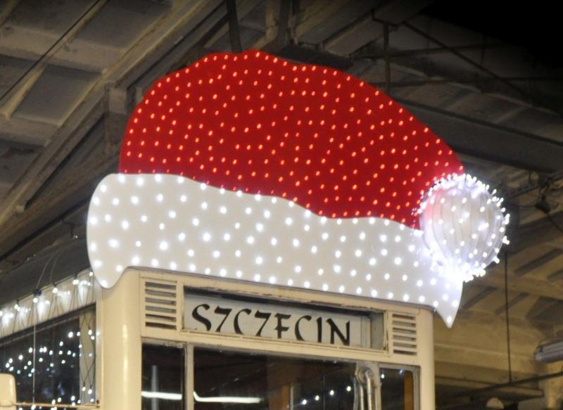świąteczny tramwaj wtym roku bezpasażerów Szczecin 2020