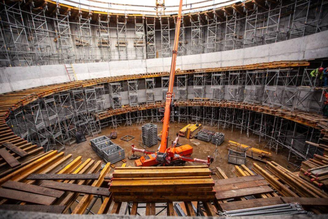 intensywne prace na budowie Fabryki Wody w Szczecinie grudzień 2020