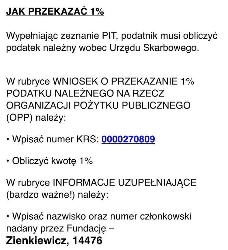 Przekaż 1% naleczenie irehabilitację drMarka Zienkiewicza