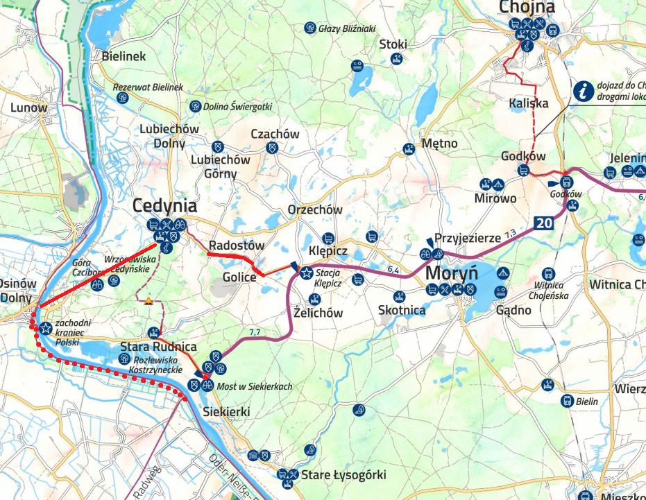 szlak rowerowy łączący Cedynię zTrasą Pojezierzy Zachodnich