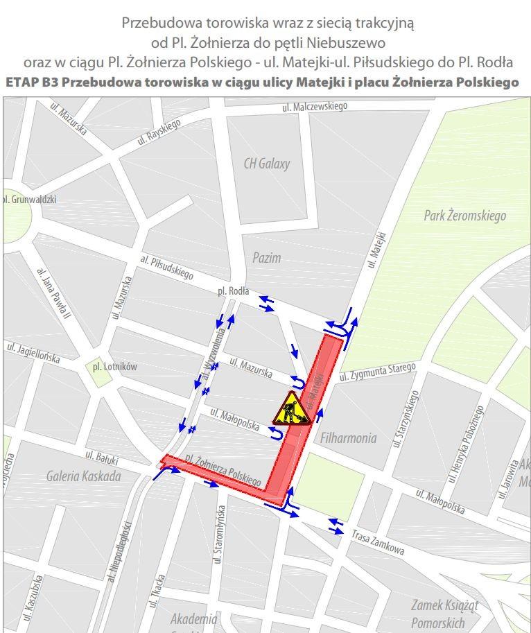 zmiany worganizacji ruchu plac Żołnierza