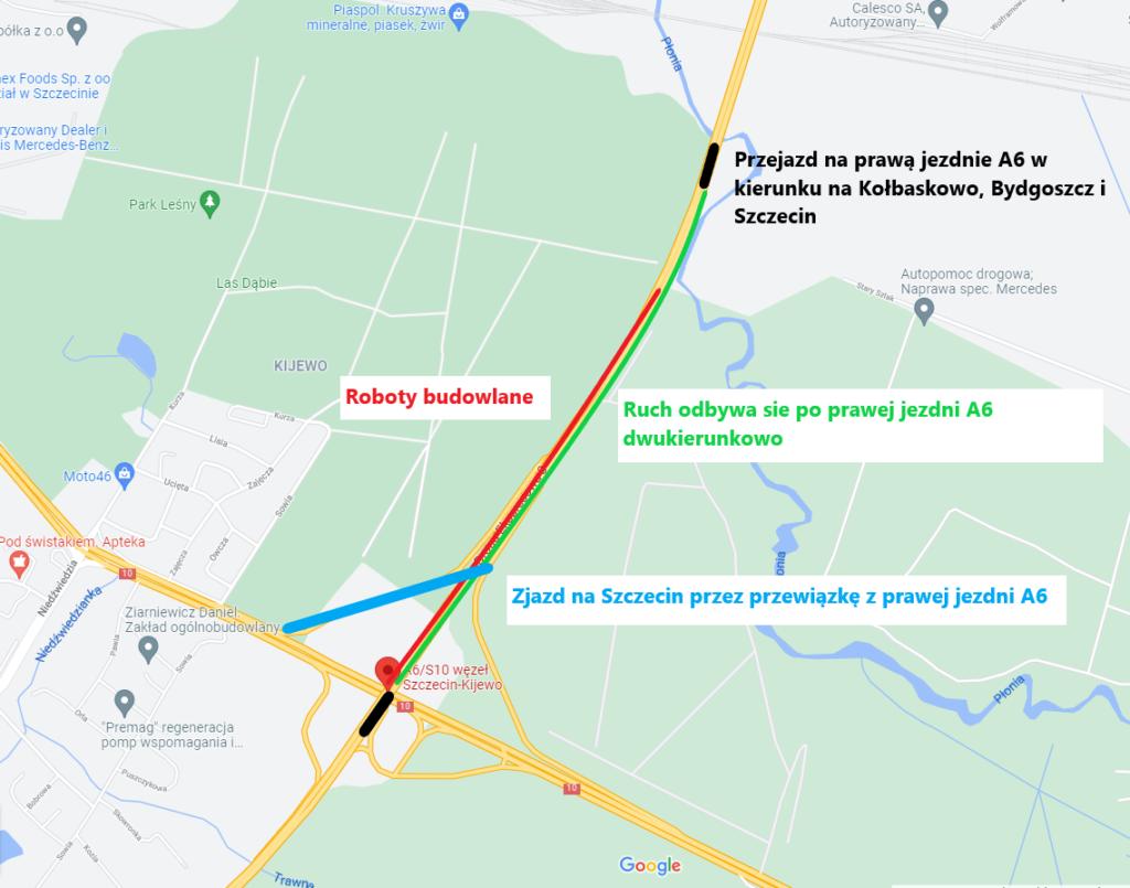 tymczasowa zmiana organizacji ruchu nawęźle Kijewo